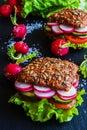 Veggie burgers green salad fresh cucumber tomato radish and radish on dark background Royalty Free Stock Photography
