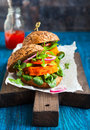 Veggie carrot burger with avocado Royalty Free Stock Photography