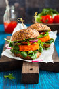 Veggie carrot burger with avocado Stock Photography