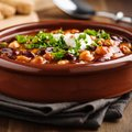 Veggie chili with chick peas and beans Royalty Free Stock Photo