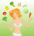 Veggie girl Royalty Free Stock Photos
