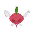 Veggie logo scary beet with eyes and teeth fork and spoon vec vector emblem Stock Photo
