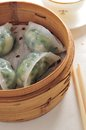 Veggie shrimp dumpling steam dim sum Royalty Free Stock Photo