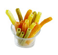 Veggie straws colorful organic baked isolated on white background Royalty Free Stock Images
