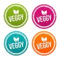 Veggy badges in different colours. Royalty Free Stock Photo