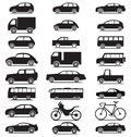 Vehicle collection with various jeep, car, bus, bicycle, lorry silhouette icons