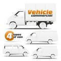 Vehicle commercial illustration of types of vehicles side for applying corporate identity Stock Photo