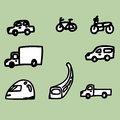 Vehicle icons illustration of hand drawing the Stock Photography
