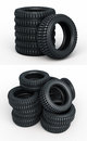 Vehicle perspective stacked tires d render isolated on white and clipping path Royalty Free Stock Image