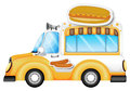 A vehicle selling buns and hotdogs illustration of on white background Stock Photography
