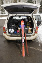 Vehicle with ski equipment. Stock Image