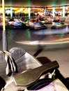 Vehicle stands unused motion blurred photo bumper cars fair Royalty Free Stock Photography