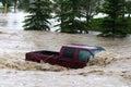 Vehicle submerged during Calgary flood Royalty Free Stock Photo