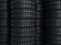 Vehicle tires stacked perspective close up Stock Image