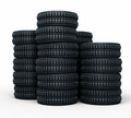 Vehicle tires stacked perspective d rendering isolated on white and clipping path Royalty Free Stock Image