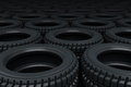 Vehicle tires stacking d rendering depth of field Stock Image