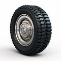 Vehicle tires and wheel d rendering on white clipping path Stock Photo