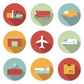 Vehicle transport and logistics flat icons vector Stock Photos