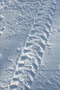 Vehicle tyre track in snow Royalty Free Stock Photography