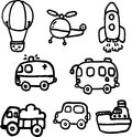 Vehicle vector a cute cartoon Stock Photography