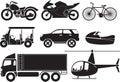 Vehicles illustration transportation icon set Royalty Free Stock Photo