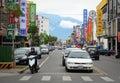 Vehicles run on street in Tainan, Taiwan