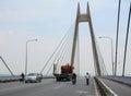 Vehicles running on the bridge in Haiphong, Vietnam