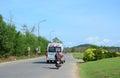 Vehicles running on street in Phu Quoc, Vietnam