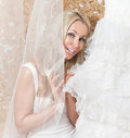 Veil and wedding dress in hands at the bride Royalty Free Stock Photos