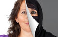 Veiling of muslim women woman concept with half the head veiled being peeled off Stock Photography