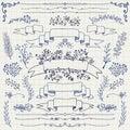 Vektor pen drawing floral design elements band Arkivbilder