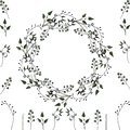 Vektor set: floral frame and floral elements for decoration of greeting cards, wedding invitations and other