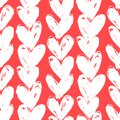 Velentine s day pattern with hand painted hearts grunge vector seamless texture for web print valentines wrapping paper wedding Royalty Free Stock Images