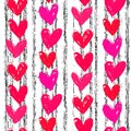 Velentine s day pattern with hand painted hearts grunge vector seamless texture for web print valentines wrapping paper wedding Royalty Free Stock Photography