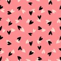 Velentine s day pattern with hand painted hearts grunge vector seamless texture for web print valentines wrapping paper wedding Royalty Free Stock Photo