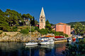 Veli losinj panoramic - church & safe harbour Stock Photography