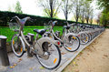 Velib bicycle rental system, Paris Royalty Free Stock Images