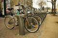 Velib public bicycle sharing scheme paris france launched july system has expanded to encompass around bicycles bicycle stations Stock Photos