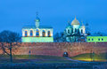 Veliky Novgorod. Russia. Kremlin with belfry and St. Sophia Cathedral Royalty Free Stock Photo