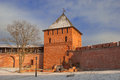Veliky novgorod tower and wall of the fortress in the ancient russian city of Stock Photo