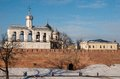 Veliky novgorod view of the kremlin wall and the bell tower of st sophia cathedral in Royalty Free Stock Images