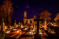 Veliuona cemetery all souls night lithuania at Royalty Free Stock Photo