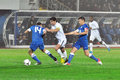 Velizar Dimitrov and two Dnipro players Royalty Free Stock Photos