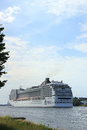 Velsen the netherlands july th msc magnifica on north sea canal from amsterdam towards ijmuiden locks is Stock Photo