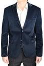 Velvet blazer wedding groom suit jacket, navy blue, on white. Royalty Free Stock Photo