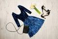Velvet Blue Dress, Black Shoes...