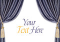 Velvet curtains background grey blue with supports and tassels isolated Stock Photography