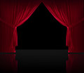 Velvet red courtain black floor Royalty Free Stock Photo