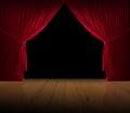 Velvet red courtain wooden floor Royalty Free Stock Photo