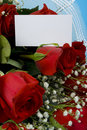 Velvet roses with note Royalty Free Stock Photos